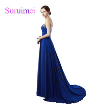 100% Real sample Fast Shipping Cheap Long Prom Dresses vestidos de noiva Beaded Crystal Sweetheart Royal Blue Prom Gowns