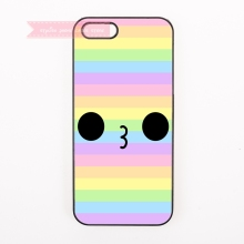 tough cover case for iphone 4 4s 5 5s 5c se 6 6S 7 Plus iPod Touch cases adorable face figure girly stripe for girl kawaii emoji(China)