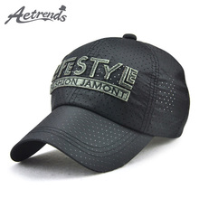 [AETRENDS] 2017 New Summer Hats Breathable Mesh Baseball Cap Men Letters Embroidered Snapbacks Z-5363()