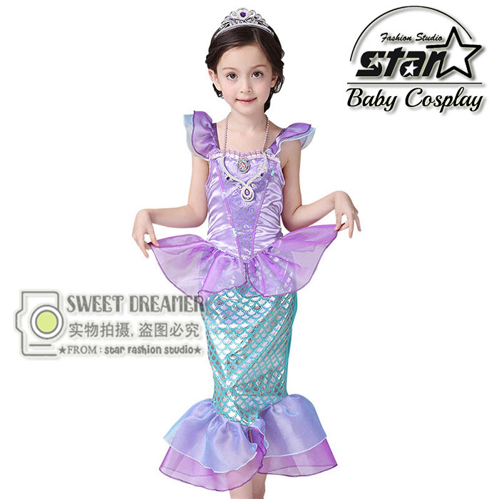 2017 The Little Mermaid Costume Girls Ariel Fancy Princess Cosplay Dress For Halloween Party Trumpet Dress Birthday Gift<br><br>Aliexpress