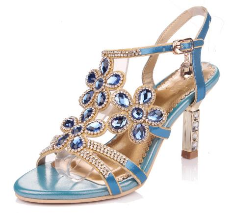 Plus Size 33-42 Rhinestone Sandals Sexy High Heel Shoes Flowers Diamond Fish Head High-heeled Sandal Wedding Shoes Zapatos Mujer<br><br>Aliexpress