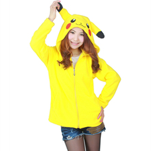 Poke mon Pika chu Sweatshirts Long sleeve with zipper hat Cosplay Pika chu Costume Men Women Hoodies Anime Cartoon Sweatshirts(China)
