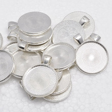 1 inch Round Shiny Silver Plated Pendant Trays, Blank Pendant Bases, 25mm Bezel Pendant Settings for Glass or Stickers