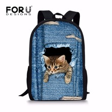FORUDESIGNS Cool Printing Denim Cat Dog Backpack for Children High Primary School Student Kids Bagpack Teen Boys Girls Bookbags(China)