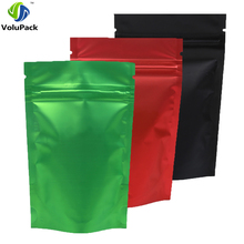 "100pcs 8.5x13cm (3.25x5"") Recyclable Green/ Red/ Black Translucent Ziplock Storage Bags Metallic Mylar Zip Lock Stand Up Pouches(China)"