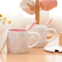 Promotion! Pastoral Style Cup Sakura Cup Creative Relief Coffee Cup by Ceramic Cup for Couple love Gift(China)