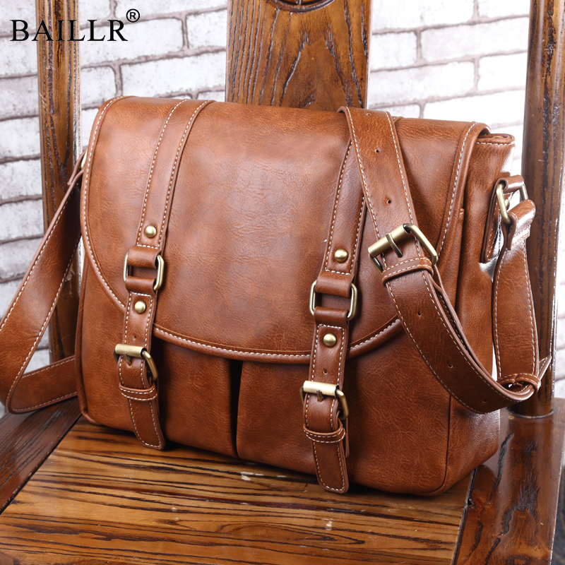 New Vintage Male PU Leather Messenger Bags Men Travel School Bags Leisure Shoulder Bags Hot Sale Fashion Crossbody Shoulder Bag<br>