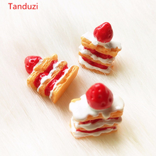 Tanduzi 20pcs Kawaii Miniature Mille-feuille Artificial Cake Simulation Food Strawberry Cakes DIY Home Deco Parts Resin Crafts