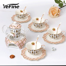 YeFine Fashion 15 Piece set Bone China Flower Enamel European Glass Ceramic Coffee Cup Pot And Saucer With Spoon