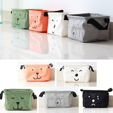 New Cotton Linen Desk Square Storage Box Jewelry Cosmetic Holder Stationery Organizer Case Bag #94881(China)