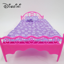 Toys lace bed Barbie Dollhouse life furniture for girls Doll Accessories birthday gift dolls for girls Pink Purple random(China)