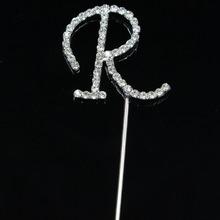 1 Pcs Clear Rhinestone Diamante Letter Monogram Cake Toppers For Wedding Decoration B028