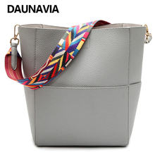 DAUNAVIA 2017 Women Shoulder Strap Bags Canvas Strap Tote Bag Women Leather Handbags And Purses Fashion Bucket Bag Bolsos Mujer(China)