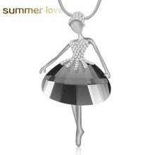 Elegant Ballet Dancer Angel Pendant Necklace Long Chain Austrian crystal Statement Necklace For Women Collier Bijoux Mujer Gift(China)