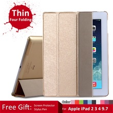 "Case for iPad 2 3 4 9.7"", GARUNK Silk Leather Folio Tri-fold Stand Case + Slim Light Weight PC Back Cover Case for iPad 2 3 4"