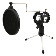Foldable Microphone Mic Shock Mount Pop Filter Tripod Stand Holder Universal Kit