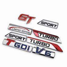 Chrome Metal TURBO TGDI V6 Car Emblems Decorations Metal GT Sport Limited Edition Car-styling for EMGRAND Maple ENGLON GLEAGLE(China)