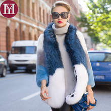 2017 New fashion brand women genuine mink fur coat with fox fur color luxury elegant lady Gradient natural mink fur jacket
