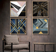 Nordic geometric abstract canvas painting blue color gold thread Home Decor On Canvas Modern Wall Prints art work no frame(China)