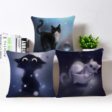 Cat Cushion Cover 3D Effect Cushion Cotton Linen Decoative Pillow Animal Sofa Char Car Home Bedroom Throw Pillow Cover