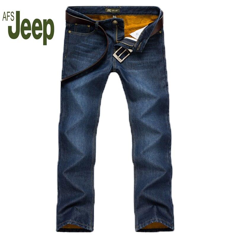 AFS JEEP 2016 winter mens jeans, stylish and comfortable mens jeans Slim Mens casual warm solid color jeans 65Îäåæäà è àêñåññóàðû<br><br>