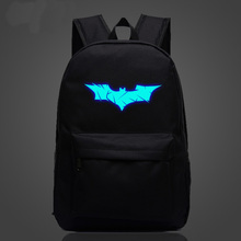 Batman luminous fluorescent male and female college students shoulder bag style luminous backpack schoolbag Korean wave