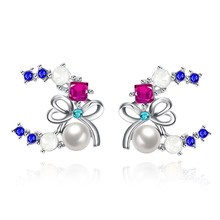 High Quality Double C Charms Stud Earrings Imitation Pearl Czech Crystal Bow Knot Earrings for Women Lady Jewelry(China)