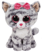 Beanie Big Eyed Stuffed Animals Willow Gray Tabby Cat Kids Plush Toys For Children Gifts 15CM(China)