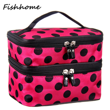 2016 cute dot 2 layer cosmetic bag women travel necessaries high-capacity storage laptop makeup organizer handbags L08(China)