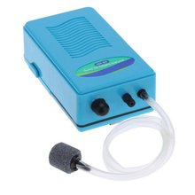 Air Oxygen Pump - SOBO Air Oxygen Pump for Fish Tank Aquarium with Soft Tube Air Stone Blue(China)