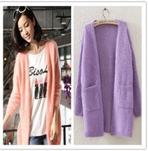 autumn  women fashion candy colors soft Mohair cardigans sweaters free shipping 1M12