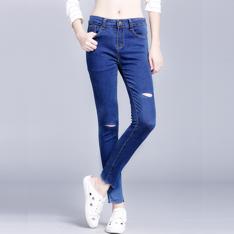 women hole ripped jeans plus size blue femme tight denim jeans pencil pants high stretch ladies fashion skinny jeans trousersОдежда и ак�е��уары<br><br><br>Aliexpress