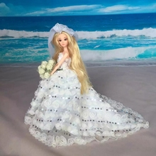 Buy LeadingStar Doll Dress Sexual Long Tail's Evening Gown Purely Manual Clothes Lace Wedding Dress Barbie Dolls Cute Veils