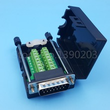 DB15 D-SUB Male 2 Row 15 Pin Plug Breakout Terminals Board Connector Screw Type Black Plastic Cover