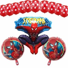 13Pcs/lot Spiderman Helium Foil Balloon Latex Balloon Superhero Theme Party Happy Birthday Decoration Great Party Gift For Kids