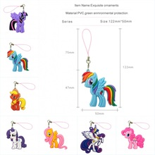 1PCS Little Ponies Cartoon PVC Cell Phone Decor Hanging Ornaments Phone Straps Keychains Bag Accessories Gift Fashion Charms(China)