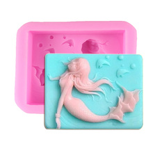 F1158  FREE SHIPPING Handmade Soap Mermaid Silicone Mold Candy Mould Cake Stencil Sugar Craft Soap Tools