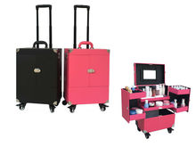 Aluminum Trolley Cosmetic Case with Mirror Beauty Box Professional Rolling Make up Black and Red 37x24.5x48cm