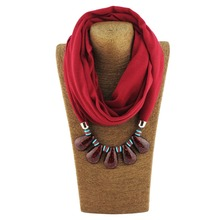 New arrival Polyester winter red water drop resin Women Pendant Scarves Necklace for Women WF13