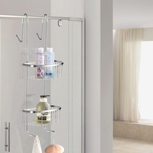 Free Shipping SUS304 stainless steel multifunctional double basket Hanger Basket Storage Shelf With Hook(China)