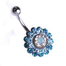 Blucome Crystal Flowers Women Piercing Navel Dangling Belly Button Rings O Plug Sexy Body Jewelry Rasta Percing Wholesale VAZ