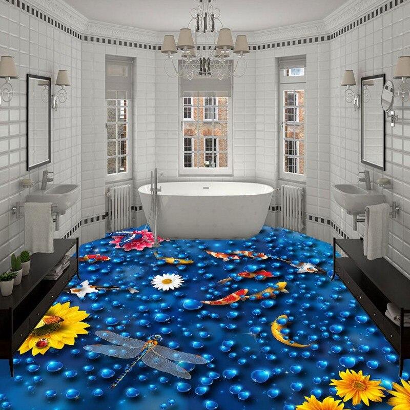 Free Shipping 3D Carp floats water flooring PVC self-adhesive waterproof home decoration bathroom living room wallpaper mural<br>