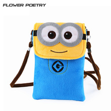 Women Cute Cartoon Plush Mini Minions Coin Purse Wallet Mobile Phone Bag Ladies Teenage Girl Clutch small shoulder Messenger Bag(China)