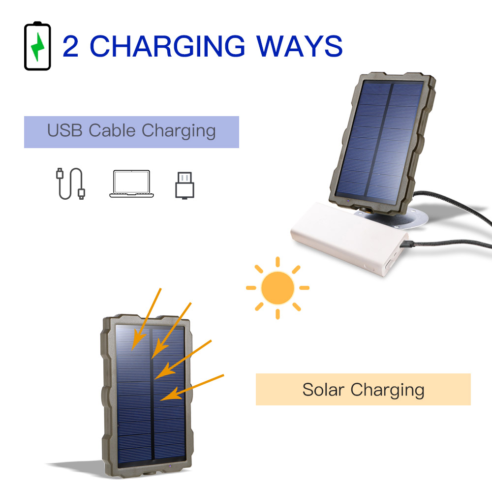 Outdoor Hunting Camera Battery Solar Panel Power Charger External Panel Power for Wild Camera Photo-traps H801 H885 H9 H3 H501 (11)