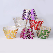 5pcs/lot Vine Lace Laser Cut Cupcake Wrappers Muffin Paper Cup Cake Wedding Gift Box Birthday Party Favor Baby Shower Decor