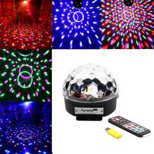Voice control RGB LED mini crystal magic ball stage light rotating lights KTV bar compartment lights+remote control USB Disk