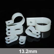 250pcs 13.2mm White Plastic Wire Hose Tubing Fanstening R-Type Line Card Fixed Cable Tie Mount Organizer Holder R Clip Clamp