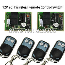 12V 2 Chanel RF Wireless Remote Control Switch System 2pcs Receiver with 4pcs 2-Button Transmitters for Appliances Garage Door