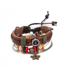 Global hot star pendant charm leather bracelet retro style Christmas gift jewelry party for woman good quality low price H140