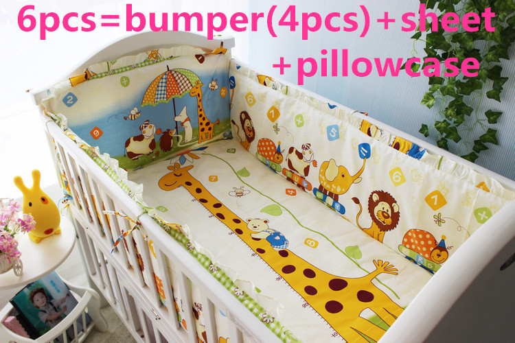 Promotion! 6PCS Cot Baby bedding sets 100% cotton baby bedclothes Cartoon crib bedding set ,include(bumpers+sheet+pillow cover)<br>